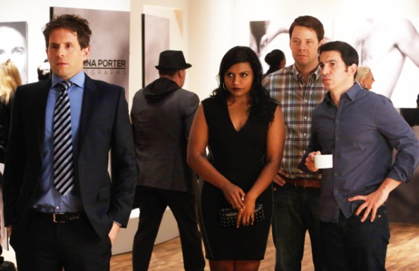 THE MINDY PROJECT: Cliff (guest star Glenn Howerton, L), Mindy (Mindy Kaling, second from L), Morgan (Ike Barinholtz, second from R) and Danny (Chris Messina, R) attend Christina's (Danny's ex-wife) art show.