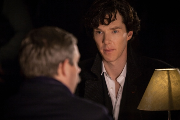 "A still from ""The Empty Hearse,"" courtesy of BBC. Note how much Sherlock hates John's mustache."